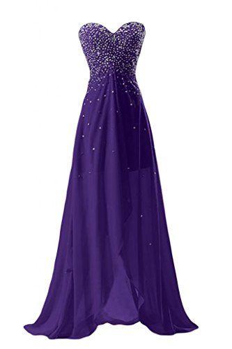 Sunvary Glamour Ein Schulter Abendkleider Lang Chiffon Ballkleider  Partykleider 40 Violett Sunvary Http