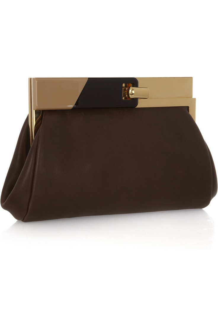 Leather clutch by Marni. Love the design. Simple lines