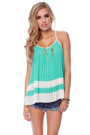 : Summer Shirts, Cute Tops, Summer Outfit, Pretty Color, Tanks Tops, Pleated Tops, Cute Tanks, Pleated Tanks, Cute Summer Tops