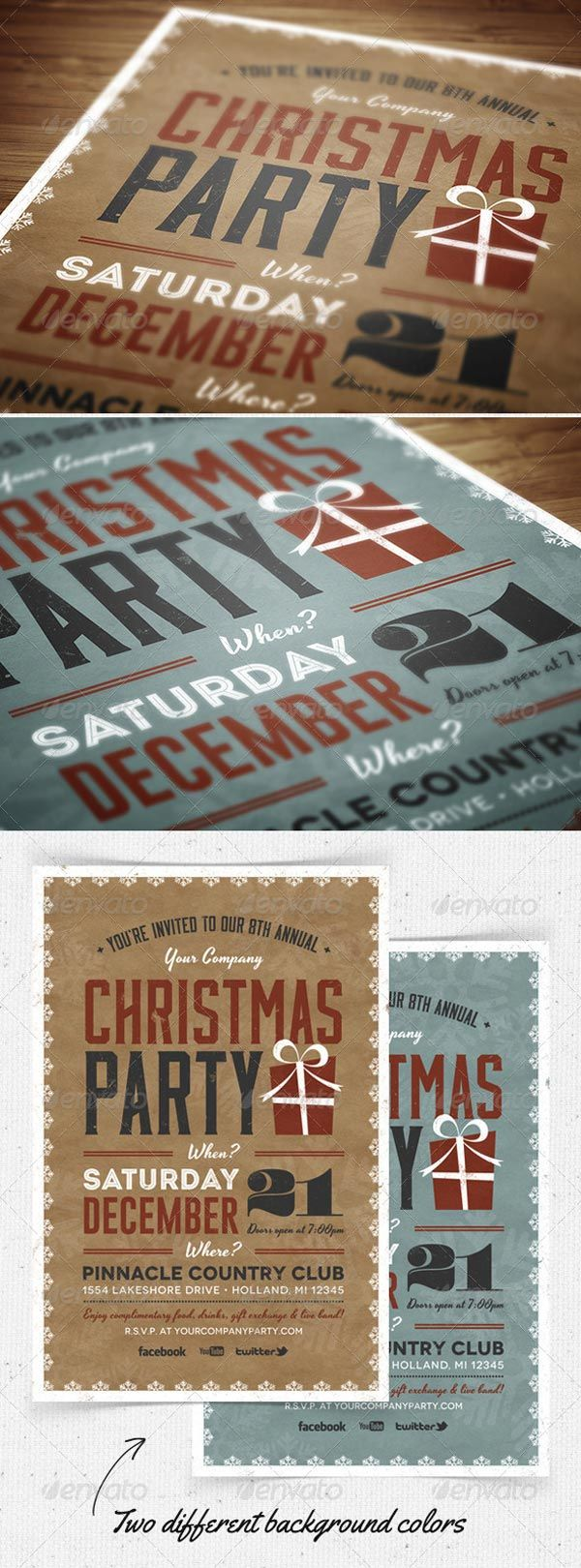 Christmas Party Flyer and Invitation Print Templates