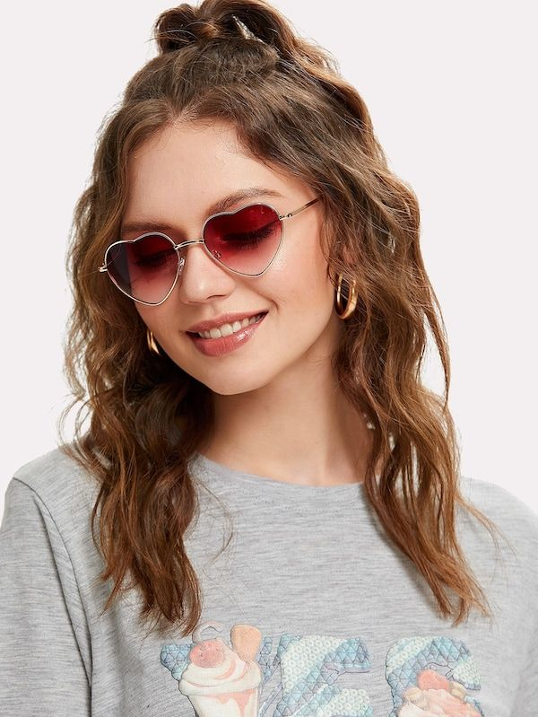67a9e5621f Heart Lens Ombre Sunglasses -SHEIN(SHEINSIDE) | Fashion in 2019 ...