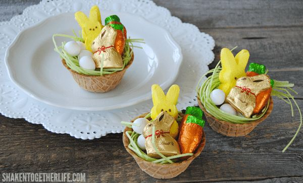 Mini Edible Easter Baskets - what a great idea! The basket, the goodies and even the Easter grass is edible! The kids would love these!