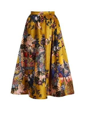 Click here to buy Erdem Teresa floral-print velvet midi skirt at  MATCHESFASHION.COM