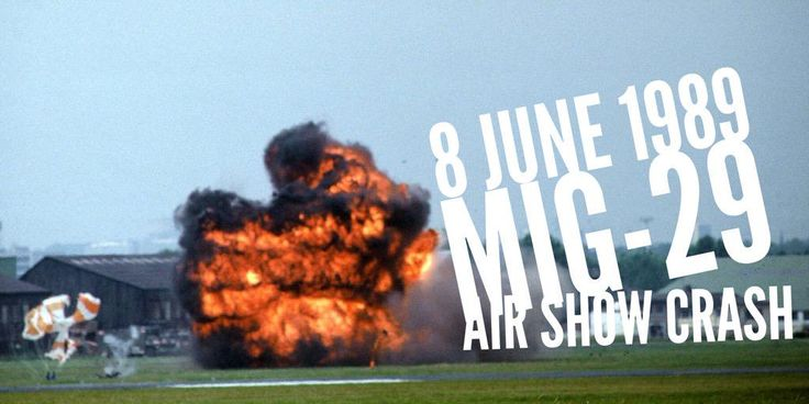 8 June 1989. Top pilot Anatoly Kovchur ejects from his MiG-29 seconds before it crashes at Le Bourget Air Show in France
