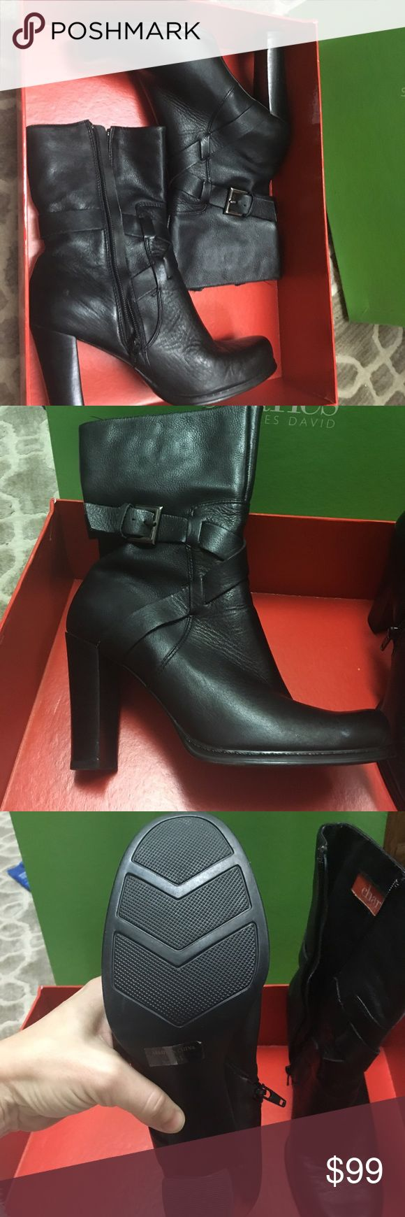 """Charles by Charles David Channel Boots - EUC Charles by Charles David Black Leather Channel Boots - EUC - Like New!  (3"""" heel).  Cover photo for style only, not color. Charles David Shoes Ankle Boots & Booties"""