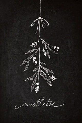 Mistletoe Christmas chalkboard art display decoration   Draw