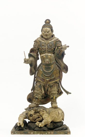 """""""Komoku-ten, Guardian of the West"""" One of a set of four Shitenno (Guardian Figures) c 1185-1333 wood with polychrome, gilt and crystal-inlaid eyes. In the collection of The Smithsonian's Freer/Sackler Galleries, Washington, DC."""