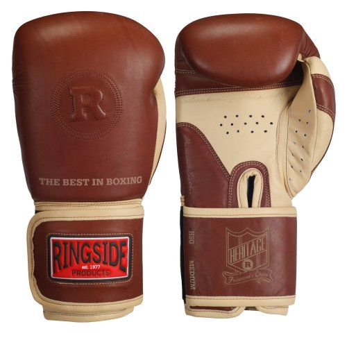 Ringside Heritage Sparring Gloves, Tan, 18-Ounce Thick, premium, drum-dyed 100% cowhide leather. Full leather extra wide wrap around hook & loop closure. Pre-curved injected molded foam padding system and protective attached thumb. Under-thumb vent holes and moisture wicking, anti-bacterial lining. Classic engraved logo detailing.  #Ringside #Sports