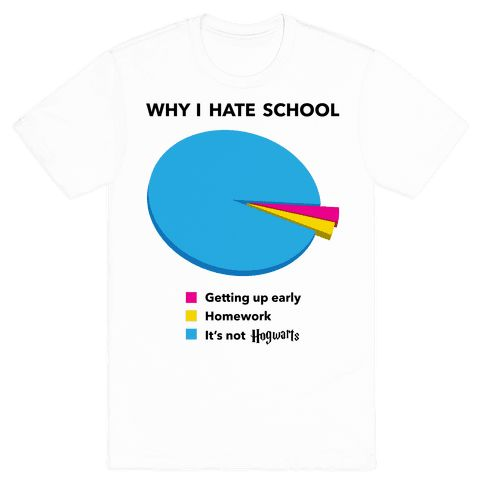There are many reasons to hate school, but your central complaint is that it's not Hogwarts! Perfect for those who would rather be practicing their Quidditch skills than doing math! This funny shirt is perfect for people in school, college, university, and who love Harry Potter, Hermione Granger, Ron Weasley, Snape, Dumbledore, witchcraft, wizardry, pie charts, and funny shirts!