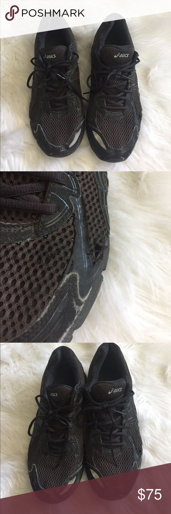 Black asics running shoes GT 2170 Black asics running shoes. Small hole on side of left shoe. Asics Shoes Athletic Shoes