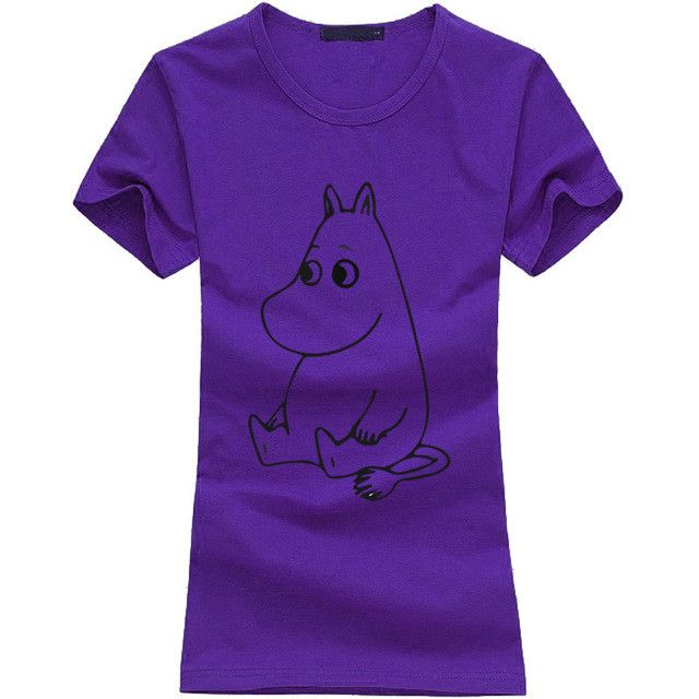 2016 kawaii MOOMIN Cartoon Print Funny Tshirt Women Cotton Casual Shirt For Lady fashion harajuku brand female t-shirt punk tops