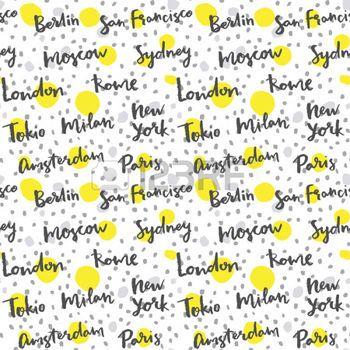 famous: Ciudades famosas con la caligrafía hecha a mano, la moda de fondo Vectores