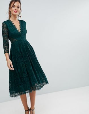 long sleeve lace midi prom dress