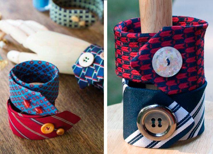 Braccialetti in tessuto creato con il riciclo delle cravatte   Bracelets made with upcycling men's ties • #tie #ties #DIY #recycle