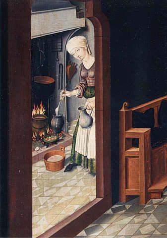 Ausschnitt aus Die Geburt der Maria_Schwäbischer Meister, 1489