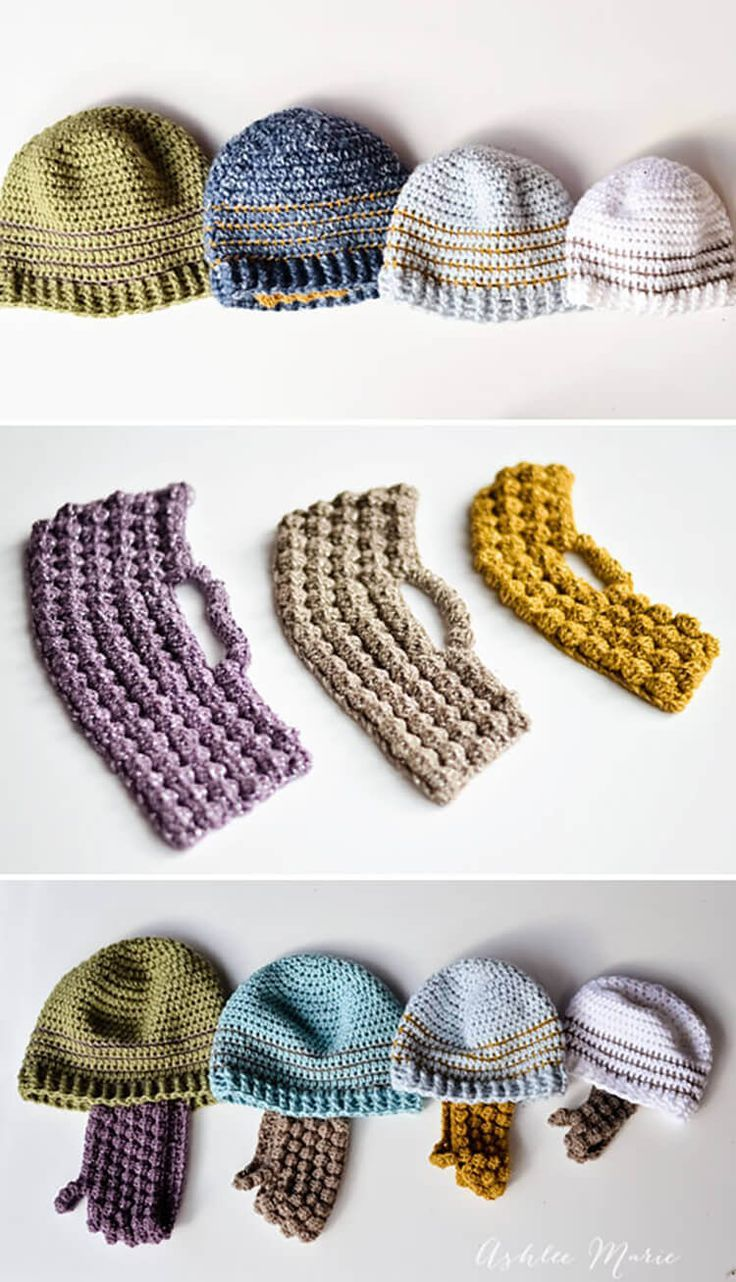 Beanie and Beard crochet patterns for all sizes, FREE! These beanies are perfect for mixing with my Bobble beards or double loop beards!