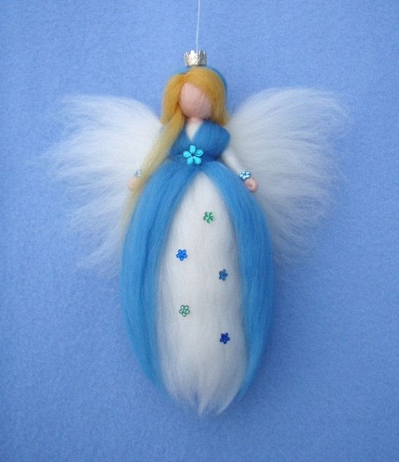 FAIRY PRINCESS Pale BLUE Needle Felted Wool Doll by Holichsmir, $25.00