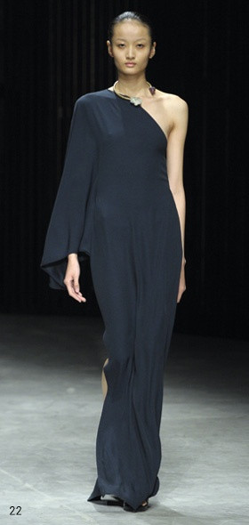 One-shoulder long black dress - Damir Doma