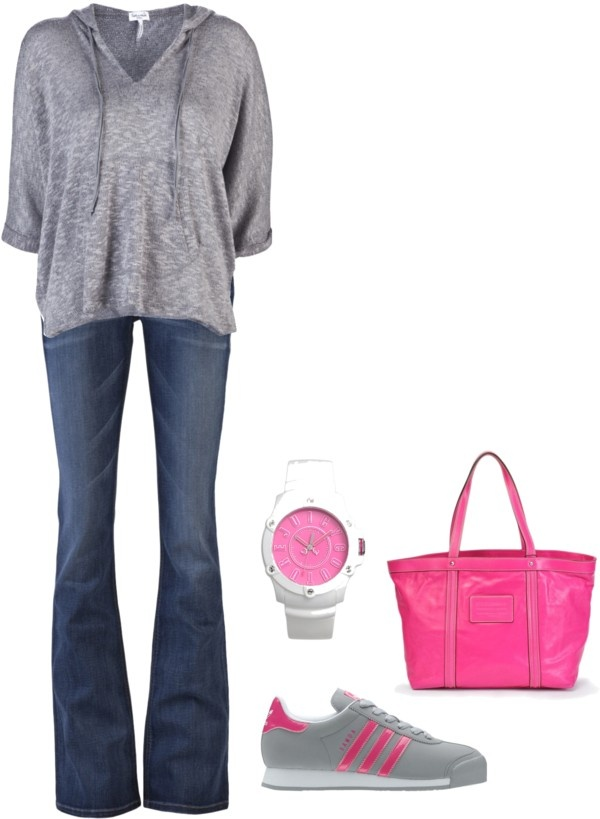 """""""Grey Loose Knit Hoodie"""" by mmessenger on Polyvore: Loo Knits, Outfits Sets, Grey Hoodie, Knits Hoodie, Blue Jeans, Plum Lace, Casual Outfits, Http Mmesseng Polyvore Com, Grey Loo"""