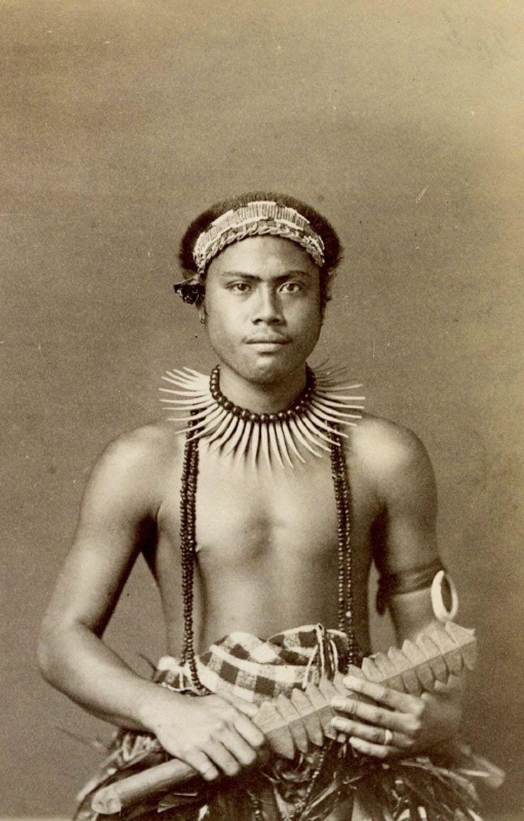 Solomon Islands | Studio portrait of a man.  ca. 1893 | Photographer unknown