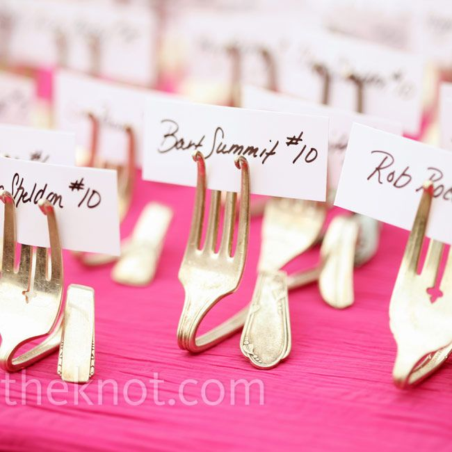 Vintage Fork Escort Card Holder // photo: Red Gallery Photography // More: http://www.theknot.com/weddings/album/a-culinary-themed-wedding-in-columbus-oh-96501