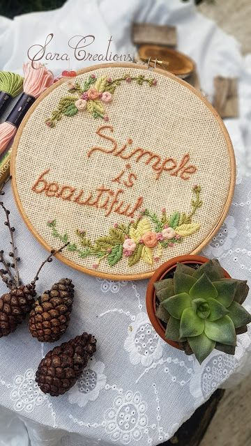 "Sara Creations - floral embroidery hoop - "" Quote of the day "" collection  Gherghef floral tip decowall brodat manual - colectia "" Citatul zilei """