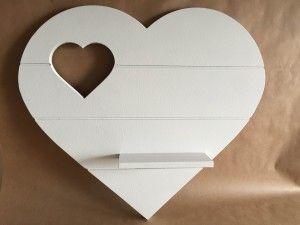 Wandbord hart met plankje