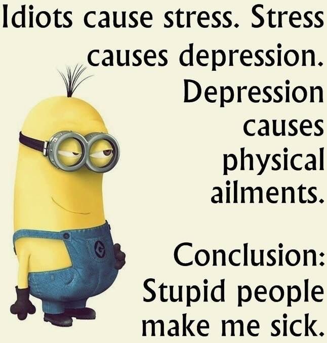 Idiots cause stress, Stress causes depression. Depression causes physical ailments. Conclusion: Stupid people make me sick. Minions life wisdom,