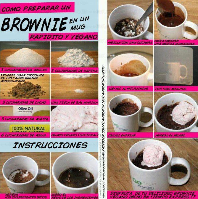Brownie vegano en taza