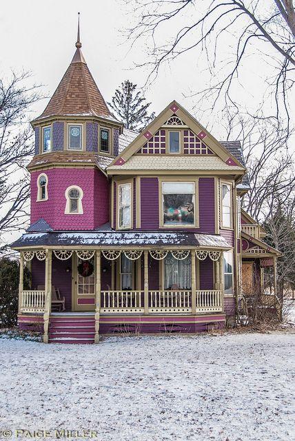 Magnificent purple Victorian home.