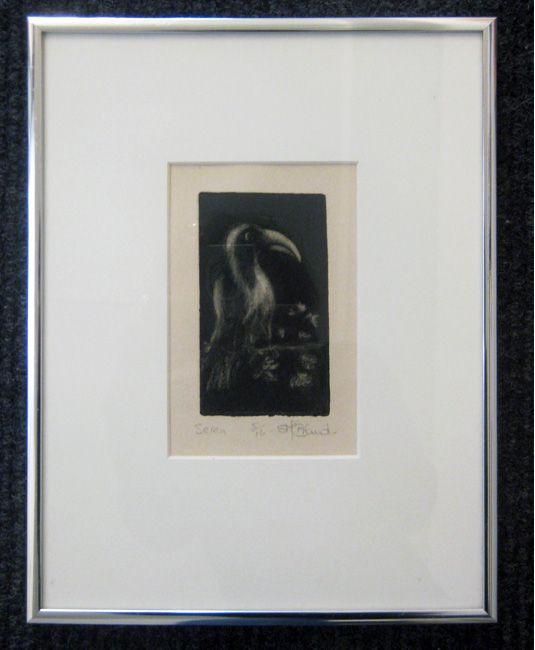 "#49   Artist: Sandy Brand   Title: ""Seren'   Medium: Print 5/16   Dimensions: 5 1/4"" x 3 3/8 inches   Framed 11"" x 8 1/2 inches"