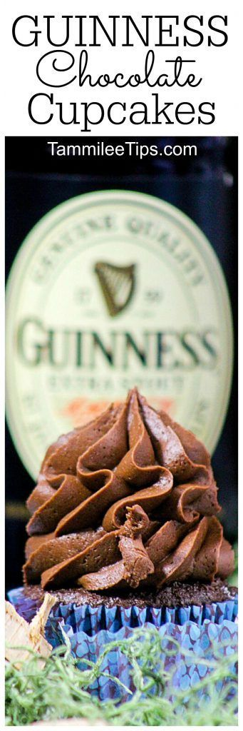 Super easy Guinness Chocolate Cupcakes Recipe perfect for St Patricks Day!  Celebrate St Pattys with this delicious desserts recipe!