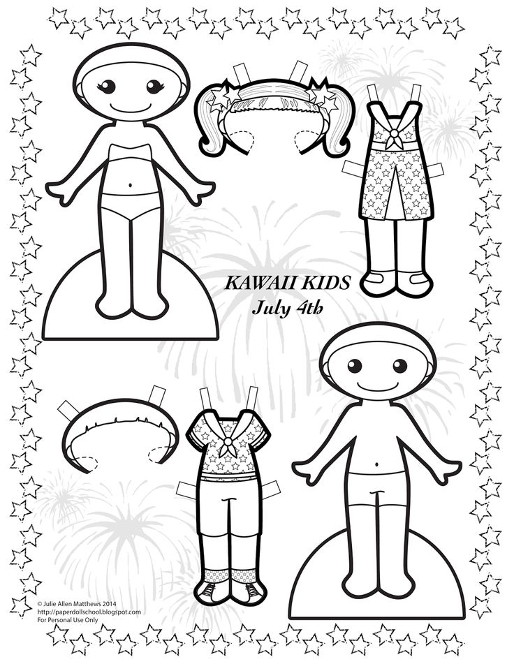 Paper Doll School: Kawaii Wednesdays - July 4th Paper Doll. Black and white paper doll to color.