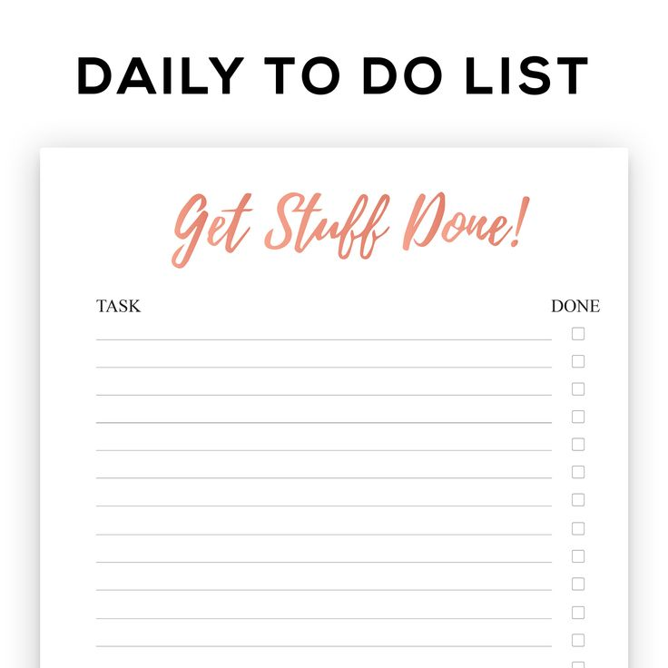 Printable rose gold foil to do list, get stuff done portrait notepad, printable planner, weekly planner, check list, organising tool kit