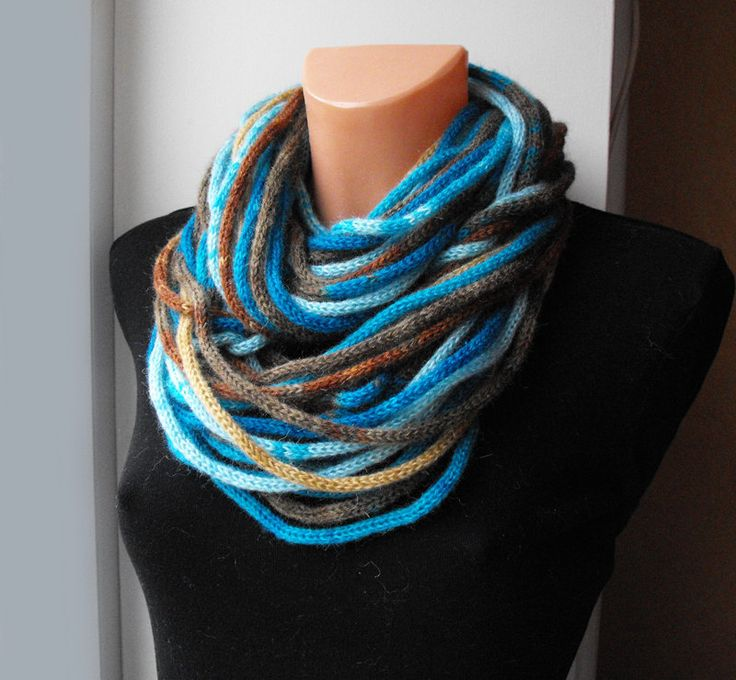 Knitting Rope For Sale : Infinity loop rope knitted scarf turquoise and brown ee