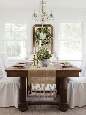 "Ready for the Holidays~Love this ""shabby chic"" natural look for Christmas dining room!"