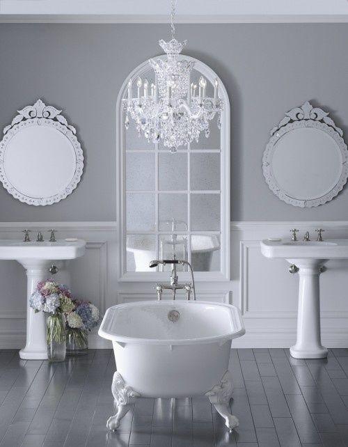 White Bathroom With Grey Tones | 2 Basins And Centerpiece Bath Tub
