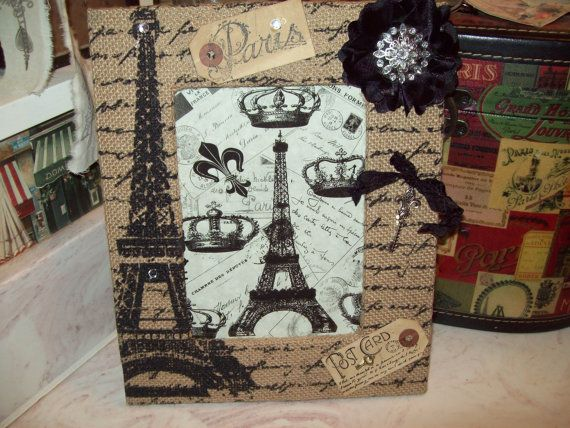 shabby burlap eiffel tower decorative picture frameparis decorfrench decorshabby chicparis bedroom decorfrench bedroom