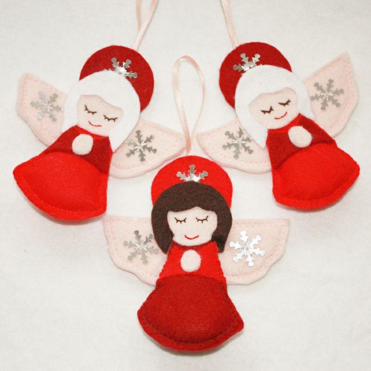 Three Felt Angel Christmas Decorations   wowthankyou.co.uk