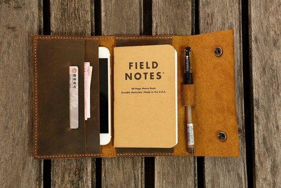 Carpeta de viaje diario cartera cuero Cuaderno de cuero de bolsillo tamaño campo notas moleskine cartera funda iPhone 6s 6 billetera de cuero FA605CDB