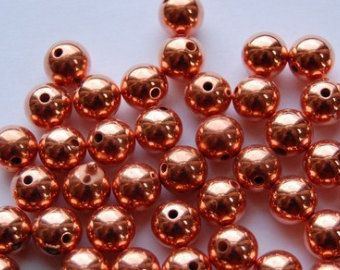 Bright Copper Acrylic Beads 8mm (12) bds920A