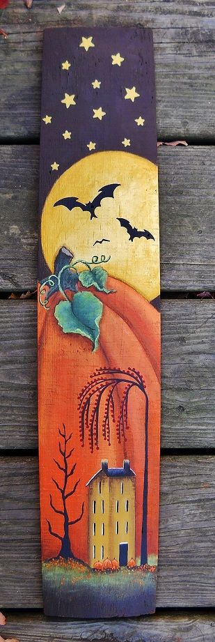 Hand painted autumn folk art on wooden barrel stave, Folk Art, All Hallows Eve, Trick or Treat, Black Cat, Bat, Cauldron, Cobwebs, Candle, Goblin, Ghost, Ghouls, Grim Reaper, Grave Keeper, Raven, Skull, Spiders, Scarecrow, Skeleton, Vampire, Witch, Jack-O-Lantern, Pumpkin, Spooky, Spells, Scary, Haunted House, Haunting, Creepy, Frightening, Full Moon, Autumn, Fall, Magic Potion