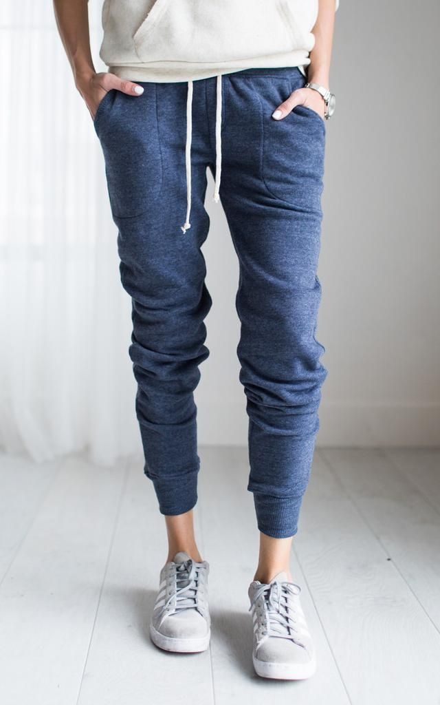 Eco Blue Joggers - I like the way that these are slouchy but don't seem like they would be baggy in the rear