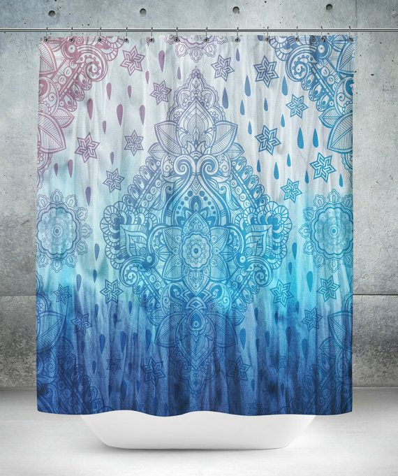 Boho Chic Tie Dye Design Blue Shower Curtain by FolkandFunky