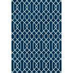 Modern Trellis Pattern Blue 7 ft. 6 in. x 9 ft. 5 in. Area Rug