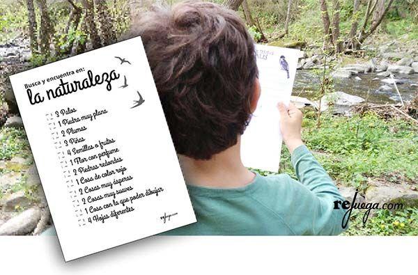 Imprimible búsqueda del tesoro para jugar en la naturaleza con los niños