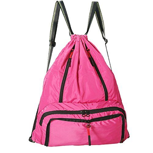 Daygos Drawstring Backpack Lightweight Foldable Waterproof Sports Gym Sackpack Bag Pink