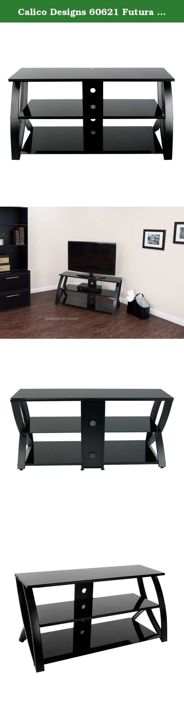 Calico Designs 60621 Futura Advanced TV Stand, 48-Inch Width by 19-Inch Depth by 23.5-Inch Height, Black with Black Glass. Calico designs' future advance TV stand offers sleek, contemporary lines that compliment today's hi-tech home theatre options. A rear panel with round cut-outs provide organized chord access. It is built with solid metal legs and floor levelers for stability. Large tempered glass shelves accommodates most 50 inch TV's and several home theatre and gaming items. (TV…