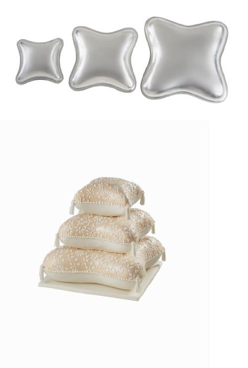 Wilton Performance Pans Pillow Pan Set, Wilton Performance Pans pillow pan set. Create a romantic tiered wedding cake in a classic ring pillow shape. Contains 3 quality aluminum pans: 6 3/4 by 6 3/4 by 2 inch, 10 by 10 by 2 inch, 13 1/4 by ..., #Kitchen, #Specialty & Novelty Cake Pans, $30.00