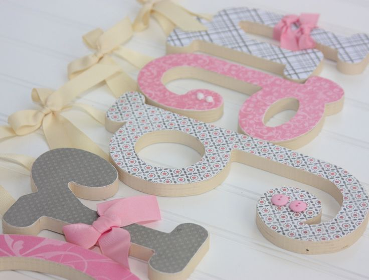 Pink & Gray Nursery Letters  Wooden Letters  by dottedcrossdesigns, $10.00